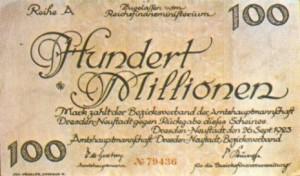 Марка. Номинал сто миллинов. 1923 г.