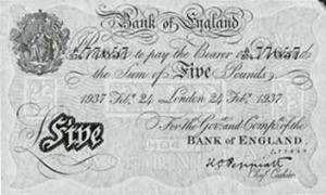 Фальшивая банкнота номиналом пять фунтов стерлингов банка Англии. 1937 г.