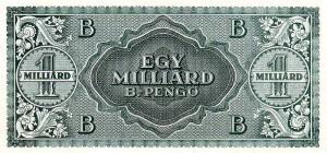 Секстиллион (миллиард триллионов) венгерских пенгё 1946 г. Самая большая по номиналу банкнота в мире.
