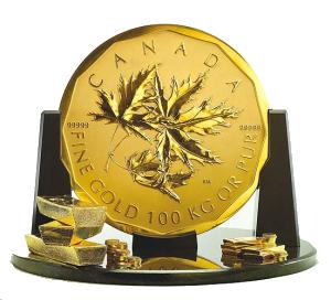 золотая монета весом 100 килограмм и номиналом в один миллион канадских долларов