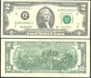 Два доллара. Аверс. Реверс.