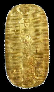 Кобан. Японская овальная золотая монета.