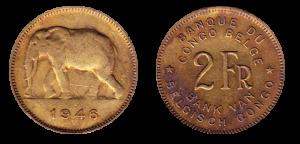 Монеты Бельгийского Конго. Два франка.