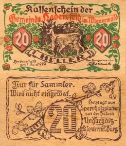 Деревянные деньги Австрийского сообщество Хадерсфельд  1920 г.