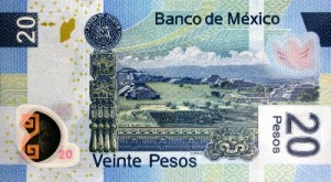 Полимерные банкноты Мексики. 20 песов. 2007г. реверс