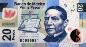 Полимерные банкноты Мексики. 20 песов. 2007г. аверс