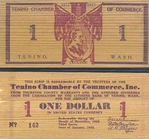 Деревянные деньги города Тенино (штат Вашингтон). 1933 г.