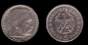 1935 г. Монета 5 рейхсмарок с портретом Гинденбурга.
