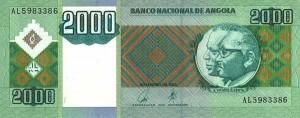 Лицевая сторона банкноты Анголы номиналом 2000 Кванз