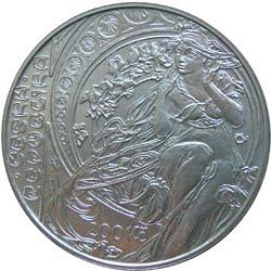 Монета на юбилей Альфонса Мухи