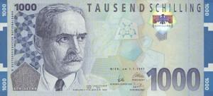 Купюра Австрии номиналом в 1000 шиллингов, работы Калины
