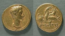 Капитолийский музей монет . Золотая монета с профилем Августа. 18-17/16 до н.э.