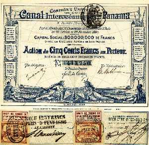 Музей денег и финансовых институтов. Ценные бумаги под строительство Панамского канала.