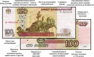 Элементы защиты 100 рублевой купюры