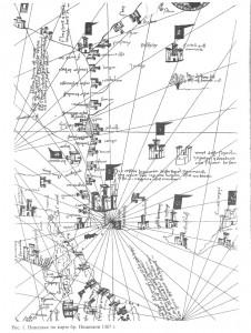 Рис.51. Поволжье по карте Пицигани 1367 г.