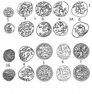 Рис.61. Рисунки ранних типов серебряных монет Сарая 60-70-х гг.XIII в. (типы 1 – 7).