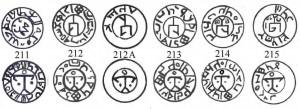 Рис.16. Реконструкции 5 типов монет с Т-образной тамгой из Нижнего Джулата.