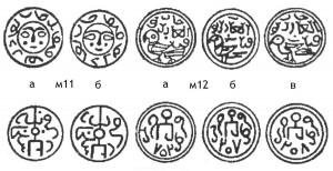 Рис.1. Реконструкции именных крымских пулов Токты 702  г.х. и без даты.