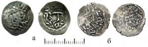 Рис.15а.б. Два варианта серебряных монет Улу-Мухаммада чкана Орду Базара 830 г.х.