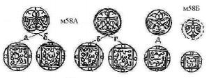 Рис.4. Реконструкции анонимного пула Крыма 744 г.х. м58А и его фракции м58Б.
