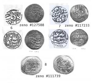 Рис.2. реконструкции дангов Азака 717 и 726 гг.х. (по Н.М.Фомичёву) и фото дангов 717, 726 и 739 гг.х.