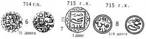 Илл.7. Реконструкции разных номиналов данга Мохши 714 и 715 гг.х.