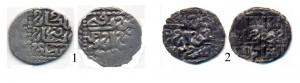 Фото 1. Примеры именных дангов Хорезма   1 – Данг Науруз бека 761 г.х; 2 – данг Хызра 762 г.х.