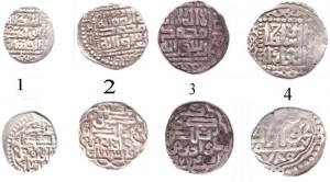 Фото 2. Изображения анонимных дангов Хорезма   1 – 769 г.х.; 2 – 773 г.х.; 3 – 774 г.х.; 780 г.х.