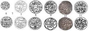 Рис.3. Реконструкции гюлистанских дангов Бердибека 753, 758-761гг.х. и Кульпы 760 г.х.