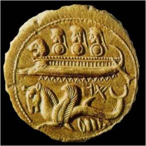 Рис.12 Финикийский корабль на древней монете