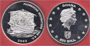 Рис.13.  500 сика. Гана, 2002, серебро.  Финикийское торговое судно