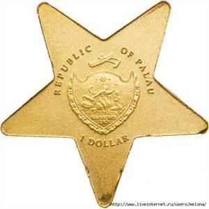 Рис. 24. Монета «Падающая звезда». 1 доллар. Палау, 2013, золото, вес – 0,5 гр