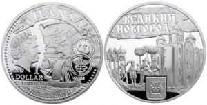 Рис.16.  1 доллар. Остров Ниуэ, МД - Польша, 2010, серебро. Город Великий Новгород
