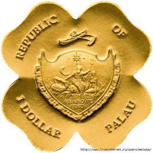 Рис. 25.  Монета «Четырехлистных клевер». 1 доллар. Палау, 2008, золото,  вес- о,5 гр.