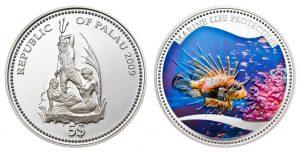 Рис. 27     5 долларов. Палау,2013, серебро, эмаль.  Рыба-зебра.  Из серии монет «Защита морской жизни»
