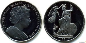 Рис. 17. Монета «Британия- владычица морей». 1 доллар. Виргинские острова, 2008,  медь-никель.