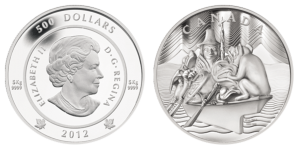 Рис.28.  500 долларов. Канада, 2012, серебро.  Вес- 5 кг.