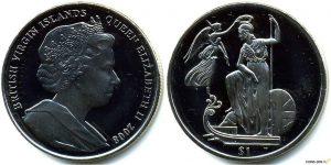 Рис.33 . 1 доллар. Виргинские острова, 2008,   медь-никель. Монета «Британия- владычица морей»