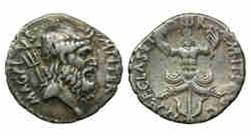 Рис.  3. Денарий. Сицилия, 42-40 гг. до н.э. Аверс: профильное изображение морского бога Нептуна , слева – трезубец. Реверс: морской трофей, трезубец, якорь, прора корабля, две головы Сциллы