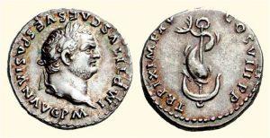 Рис.5.  Денарий.  Римская империя, 39-81 гг. Аверс: профильный портрет императора Веспасиана; реверс: дельфин, обвивающий якорь