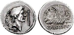 Рис.  4 . Денарий. Сицилия, 42-40 гг. до н.э. Аверс: профильный портрет Секста Помпея, справа – трезубец. Реверс: изображение корабля
