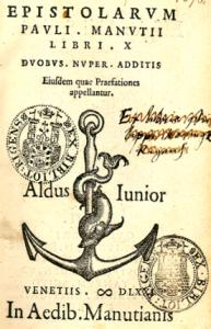 Рис.6. Эмблема типографии венецианского книгоиздателя Альдо Мануция (1449-1515 гг.) – дельфин, обвивающийся вокруг якоря