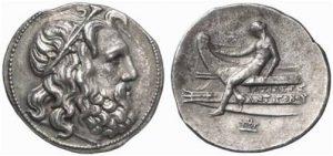 Рис.7.  Монета Антигона III Досона, 229-221 гг. дон.э.,  Македонское царство. Серебро. Аверс: Посейдон  Реверс: Аполлон на проре корабля с луком в руке