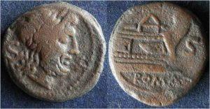 Рис.6. Семис. Римская республика, после 211 г. до н.э., анонимный выпуск, бронза. Аверс: голова Сатурнареверс: прора корабля