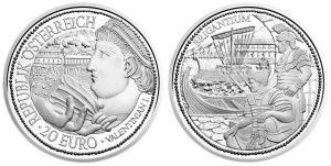 Рис. 11. 20 евро, Австрия, 2012, серебро (император Флавий Валентиниан). Порт Бриганциум.