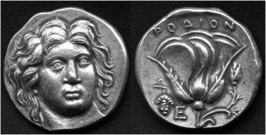 Рис.15.  Дидрахма. Родос, 325 г. до н.э., серебро.  Аверс: голова бога Гелиоса – Колосса Родосского