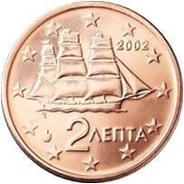 Рис.10 2 лепты (2 евроцента). Греция (Европейский союз), 2002, сталь покрытая медью