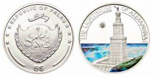 Рис. 16. 1 доллар. Палау, 2009, серебро,  эмаль.Из серии монет «Семь чудес света Древнего Мира»