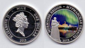 Рис. 12. 1 доллар. О-в Ниуэ, 2013, серебро, эмаль. Город-порт Мурманск. Из коллекции Музея денег