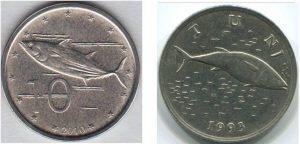 Рис.17. Изображение тунца на современных монетах